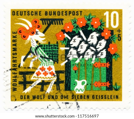 GERMANY - CIRCA 1963: A stamp printed in Germany, shows goats and kids, fairy tale wolf and the seven kids, circa 1963