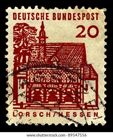 GERMANY-CIRCA 1964:A stamp printed in Germany shows image of The Abbey of Lorsch is a former Imperial Abbey in Lorsch, Germany, about 10 km east of Worms,  circa 1964.