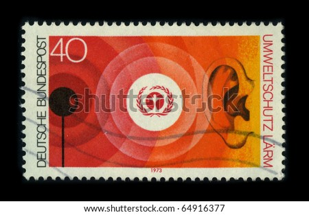 GERMANY - CIRCA 1973: A stamp printed in GERMANY shows image of the dedicated to the Environmental Protection, circa 1973. - stock photo