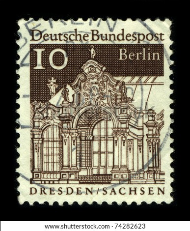 GERMANY-CIRCA 1980:A stamp printed in GERMANY shows image of the Dresden  is the capital city of the Free State of Saxony in Germany, circa 1980.