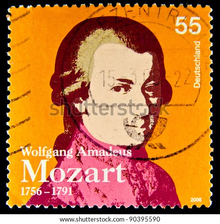 GERMANY - CIRCA 2006: a stamp printed in Germany shows image of Wolfgang Amadeus Mozart and commemorates his 250th birthday, circa 2006 - stock photo