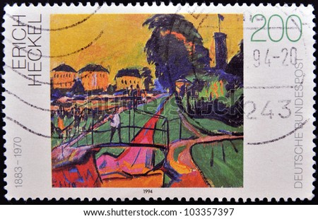 GERMANY - CIRCA 1994: A stamp printed in Germany shows Landscape by Erich Heckel, circa 1994