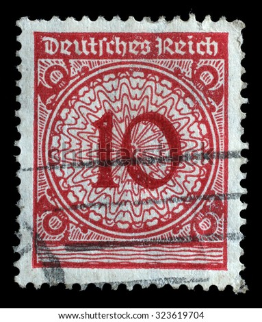 GERMANY - CIRCA 1924: A stamp printed in Germany shows 10 marks, circa 1924 - stock photo