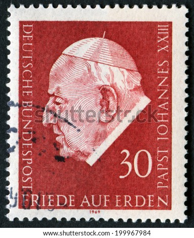 GERMANY - CIRCA 1969: A stamp printed in Germany shows Pope John XXIII, circa 1969 - stock photo