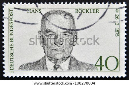 GERMANY - CIRCA 1975: A stamp printed in Germany shows portrait Hans Blockler, circa 1975.