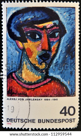 GERMANY - CIRCA 1974: a stamp printed in Germany shows Portrait in Blue, Painting by Alexej von Jawlensky, circa 1974