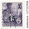 GERMANY - CIRCA 1953: A stamp printed in Germany, shows steel-maker (changing the nominal), series Five year plan, circa 1953 - stock photo