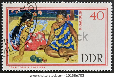 GERMANY - CIRCA 1967: A stamp printed in Germany shows Tahitian Beach by Paul Gauguin, circa 1967