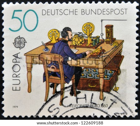 GERMANY - CIRCA 1979: A stamp printed in Germany shows Telegraph office in 1863, circa 1979 - stock photo