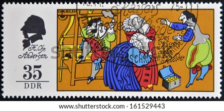 GERMANY - CIRCA 1975: A stamp printed in Germany shows The Emperor's New Clothes, scene from a fairy tale by Hans Christian Anderse, circa 1975