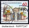 GERMANY - CIRCA 1986: a stamp printed in the Germany, Berlin shows Gryphon Gate, Glienicke Castle, Berlin, circa 1986 - stock photo