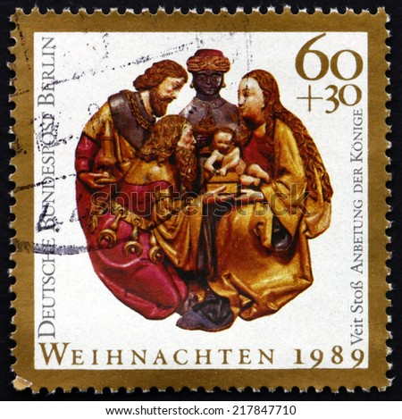 GERMANY - CIRCA 1989: a stamp printed in the Germany, Berlin shows Nativity, Christmas, circa 1989 - stock photo