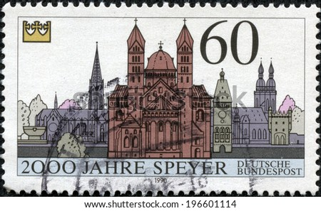 GERMANY - CIRCA 1990: A stamp printed in the Germany, dedicated to the 2000th anniversary of Speyer, shows the Speyer Cathedral, circa 1990 - stock photo
