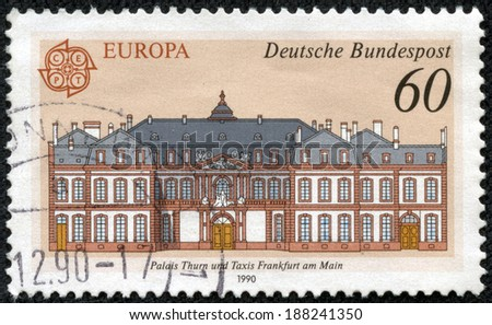 GERMANY - CIRCA 1990: A stamp printed in the Germany, is depicted Post offices in Frankfurt am Main: Thurn and Taxis Palace, circa 1990 - stock photo