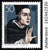 GERMANY - CIRCA 1980: a stamp printed in the Germany shows Albertus Magnus, Dominican Friar and Bishop, Philosopher and Theologian, circa 1980 - stock photo