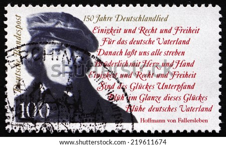 GERMANY - CIRCA 1991: a stamp printed in the Germany shows August Heinrich Hoffmann von Fallersleben, German Poet, Author of the National Anthem of Germany, circa 1991 - stock photo