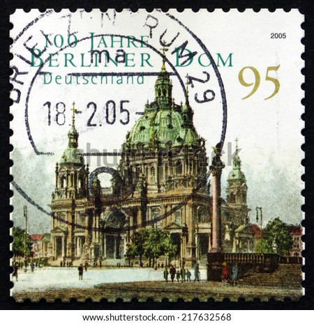GERMANY - CIRCA 2005: a stamp printed in the Germany shows Berlin Cathedral, Evangelical Supreme Parish and Collegiate Church, Centenary, circa 2005 - stock photo