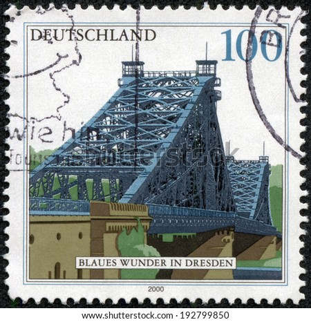 GERMANY - CIRCA 2000: a stamp printed in the Germany shows Blue Wonder Bridge, Dresden, circa 2000 - stock photo