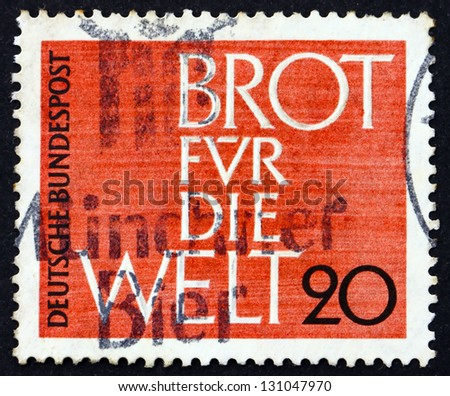 GERMANY - CIRCA 1962: a stamp printed in the Germany shows Bread for the World, Advent Collection of the Protestant Church in Germany, circa 1962 - stock photo