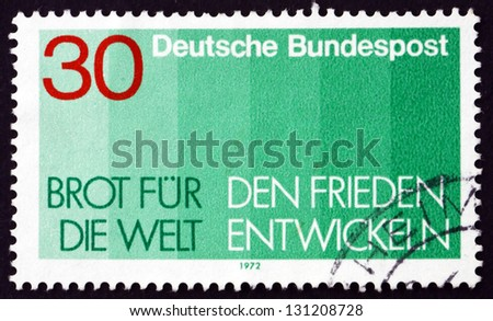 GERMANY - CIRCA 1972: a stamp printed in the Germany shows Bread for the World, Advent Collection of the Protestant Church in Germany, circa 1972 - stock photo