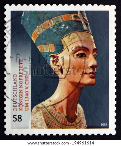 GERMANY - CIRCA 2013: a stamp printed in the Germany shows Bust of Queen Nefertiti, Great Royal Wife of the Egyptian Pharaoh Akhenaten, Treasures of German Museums, circa 2013