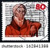 GERMANY - CIRCA 1986: a stamp printed in the Germany shows Carl Maria von Weber, Composer and Pianist, Mass in E-flat Major, circa 1986 - stock