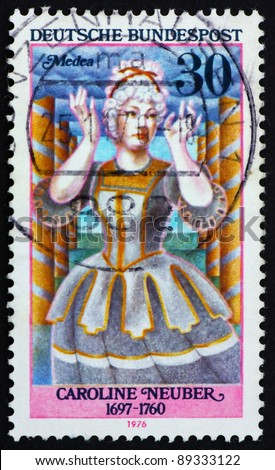 GERMANY - CIRCA 1976: a stamp printed in the Germany shows Caroline Neuber as Medea, German Actress, circa 1976
