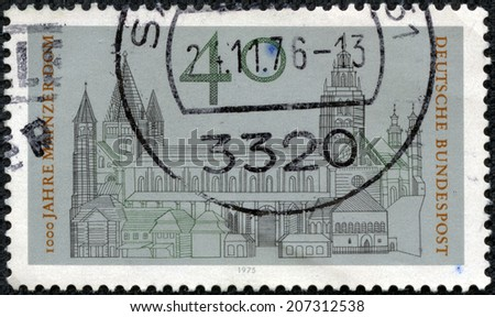 GERMANY - CIRCA 1975: A stamp printed in the Germany shows Cathedral of Mainz, St. Martin's Cathedral, Millennium of the Cathedral of Mainz, circa 1975 - stock photo