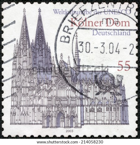 GERMANY - CIRCA 2003: a stamp printed in the Germany shows Cologne Cathedral, UNESCO World Heritage Site, circa 2003