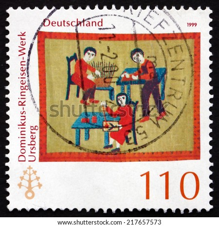 GERMANY - CIRCA 1999: a stamp printed in the Germany shows Dominikus-Ringeisen Institution, Ursberg, 115th Anniversary, circa 1999