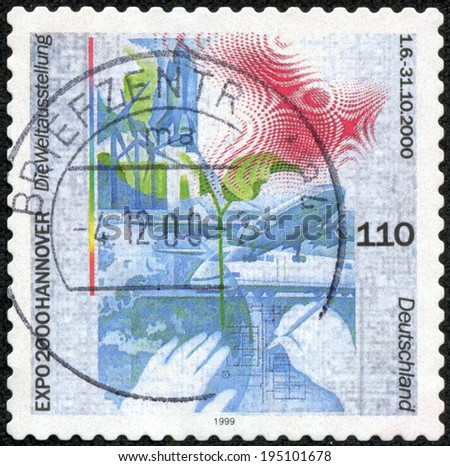 GERMANY - CIRCA 1999: a stamp printed in the Germany shows Expo 2000, Hanover, circa 1999 - stock photo
