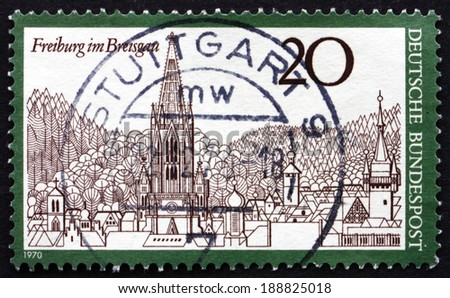 GERMANY - CIRCA 1970: a stamp printed in the Germany shows Freiburg Minster Cathedral and View of Freiburg im Breisgau, Baden-Wurttemberg, circa 1970