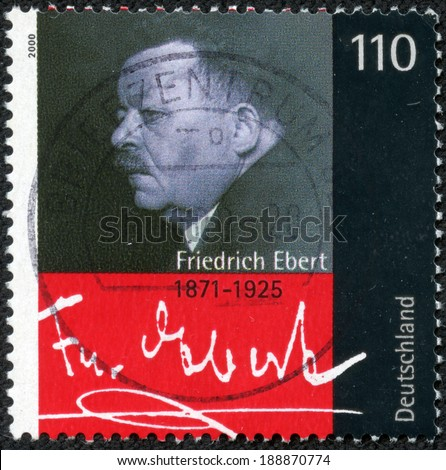 GERMANY - CIRCA 2000: a stamp printed in the Germany shows Friedrich Ebert, President of German Reich, the First President of Germany from 1919 until 1925, circa 2000 - stock photo
