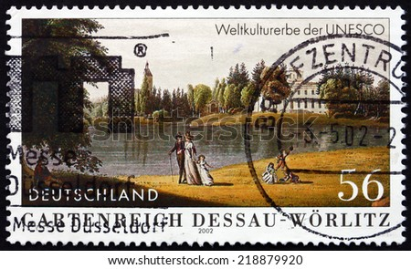 GERMANY - CIRCA 2002: a stamp printed in the Germany shows Garden Kingdom of Dessau-Worlitz, UNESCO World Heritage Site, circa 2002 - stock photo