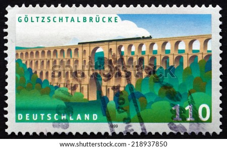 GERMANY - CIRCA 1999: a stamp printed in the Germany shows Goltzsch Valley Bridge, is a Railway Bridge, the Largest Brick-built Bridge in the World, circa 1999 - stock photo