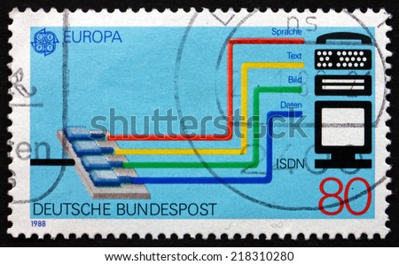 GERMANY - CIRCA 1988: a stamp printed in the Germany shows Integrated Services Digital Network ( ISDN ) System, circa 1988