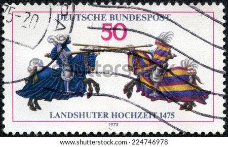 GERMANY - CIRCA 1975: a stamp printed in the Germany shows Joust, from Jousting Book of William IV, 500th Anniversary of the Wedding of Landshut, circa 1975 - stock photo