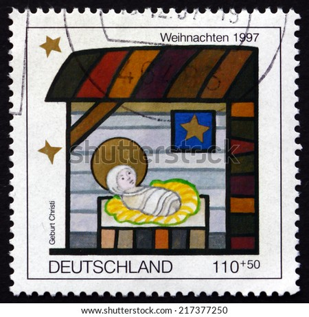 GERMANY - CIRCA 1997: a stamp printed in the Germany shows Nativity, Christmas, circa 1997 - stock photo