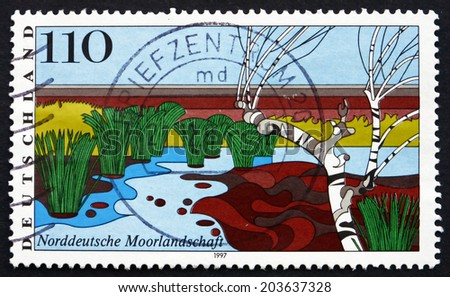 GERMANY - CIRCA 1997: a stamp printed in the Germany shows North German Moorland, Scenic Region, circa 1997 - stock photo