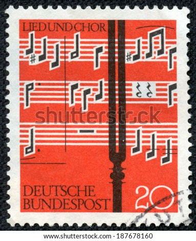 GERMANY - CIRCA 1962: a stamp printed in the Germany shows Notes and Tuning Fork, circa 1962 - stock photo