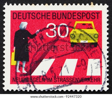 GERMANY - CIRCA 1971: a stamp printed in the Germany shows Observe Pedestrian Crossings, new traffic rules, circa 1971