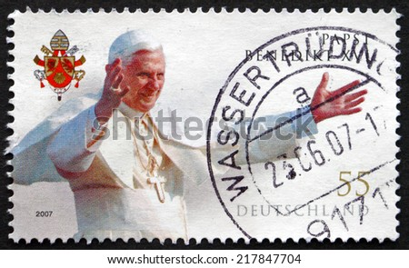 GERMANY - CIRCA 2007: a stamp printed in the Germany shows Pope Benedict XVI, Pope of the Catholic Church, Served from 2005 until His Resignation in 2013, circa 2007 - stock photo