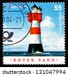 GERMANY - CIRCA 2004: a stamp printed in the Germany shows Roter Sand, Lighthouse in the Middle of the North Sea, circa 2004 - stock photo