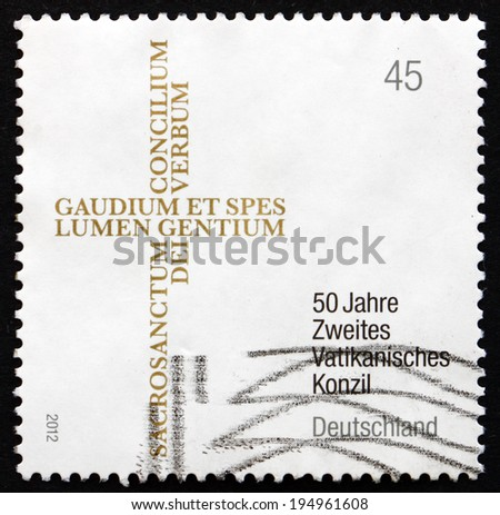 GERMANY - CIRCA 2012: a stamp printed in the Germany shows Second Vatican Council, 50th Anniversary, circa 2012 - stock photo