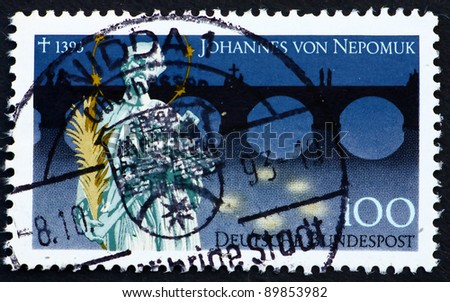 GERMANY - CIRCA 1993: a stamp printed in the Germany shows St. John of Nepomuk, 600th Death Anniversary, circa 1993