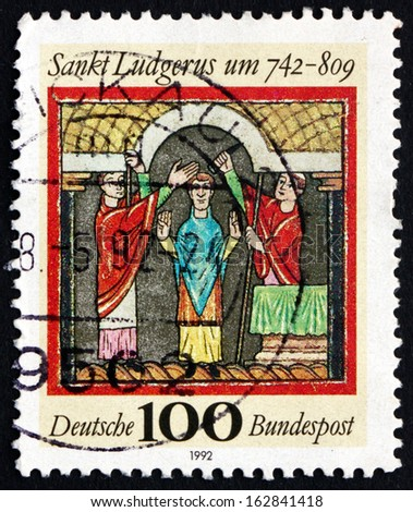GERMANY - CIRCA 1992: a stamp printed in the Germany shows St. Ludgerus, Missionary among the Frisians and Saxons, circa 1992 - stock photo