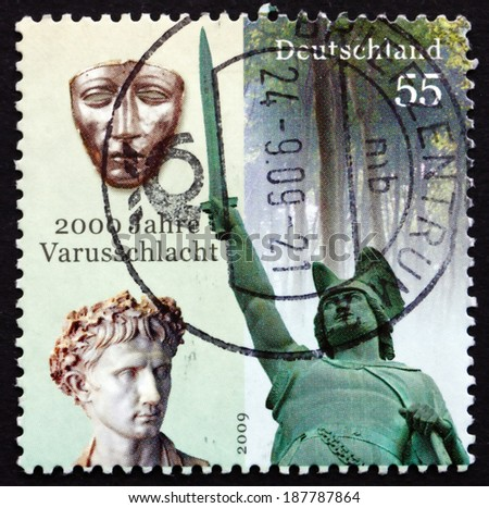 GERMANY - CIRCA 2009: a stamp printed in the Germany shows The Battle of the Teutoburg Forest, 2000th Anniversary, Varus Battle, circa 2009