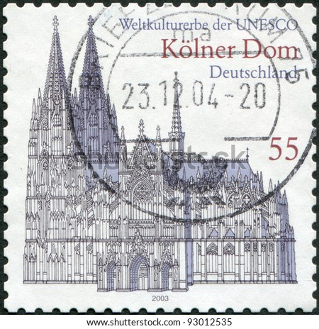 GERMANY - CIRCA 2003: A stamp printed in the Germany, shows the Cologne Cathedral, UNESCO World Heritage Site, circa 2003