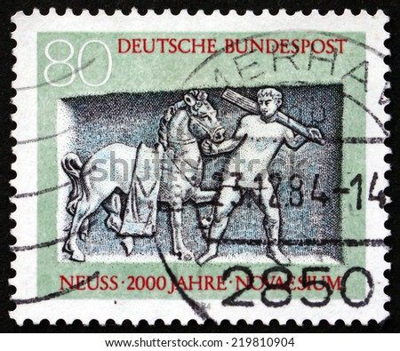 GERMANY - CIRCA 1984: a stamp printed in the Germany shows Tomb of Oclatius, Bas-relief, City of Neuss Bimillenium, circa 1984
