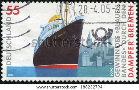 GERMANY - CIRCA 2004: a stamp printed in the Germany shows Transatlantic Speed Record, 75th Anniversary of the Breaking Voyage of the Steamship Bremen, circa 2004 - stock photo